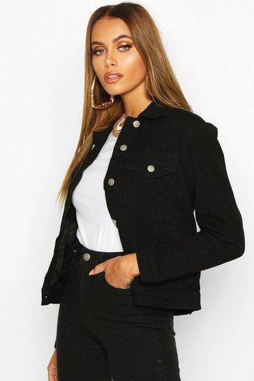 Womens Black Western Denim Jacket