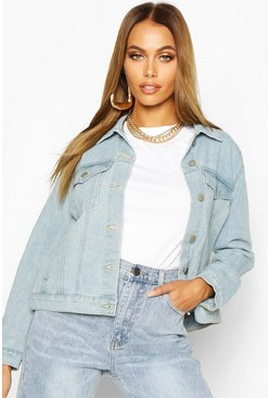 Light blue Jeansjacka i westernmodell