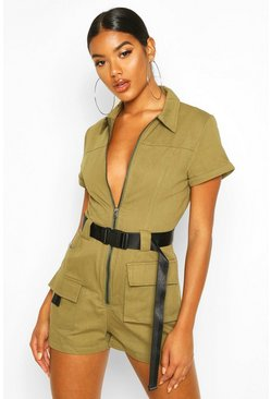 Womens Khaki Utility Belted Playsuit