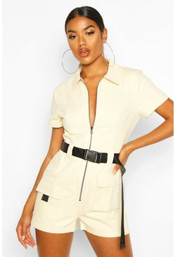 Stone Utility Belted Playsuit