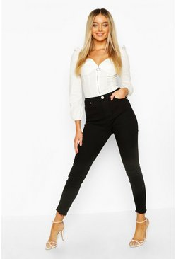 Womens Black Frayed Hem Skinny Jeans
