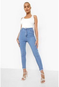 Light blue Skinny jeans med fransig kant