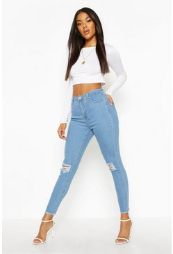Light blue Frayed Hem Distressed Skinny Jeans