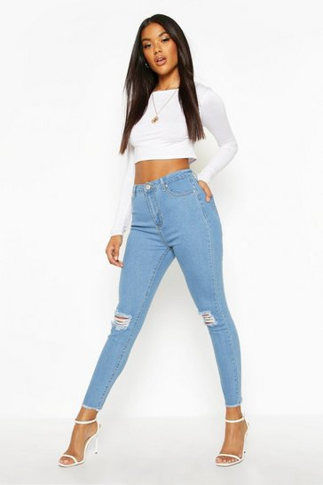 Womens Light blue Frayed Hem Distressed Skinny Jeans