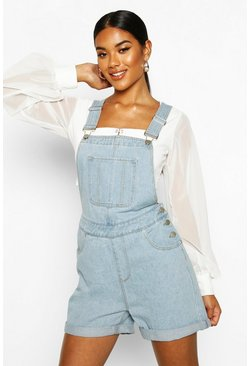 Womens Light blue Denim Dungaree Shorts