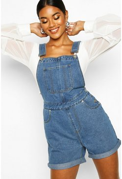 Womens Mid blue Denim Dungaree Shorts