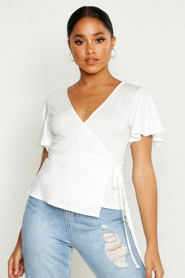 Womens White Frill Sleeve Tie Waist Top