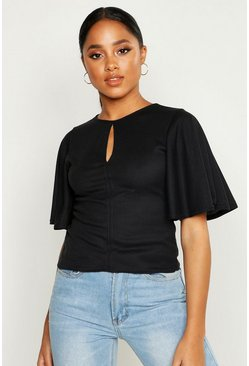 Womens Black Keyhole Tie Front Ribbed Top