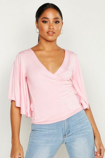 Womens Light pink Angel Sleeve Wrap Jersey Top