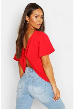Womens Red Knot Back Angel Sleeve Blouse