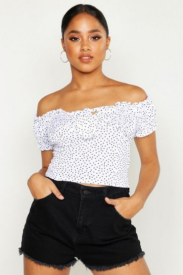 White Spot Print Off The Shoulder Peasant Crop