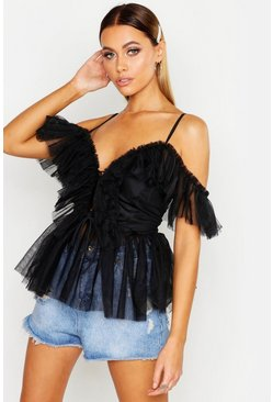Black Mesh Organza Ruffle Layered Lace Up Peplum