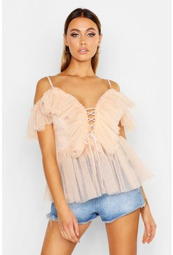 Womens Nude Mesh Organza Ruffle Layered Lace Up Peplum
