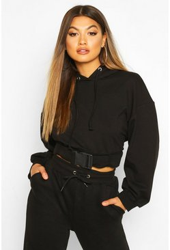 Womens Black Buckle Detail Oversized Hoody