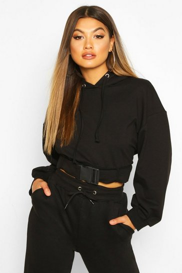 Black Buckle Detail Oversized Hoody