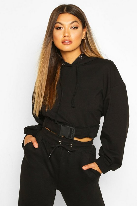 Buckle Detail Oversized Hoody