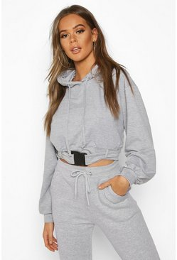 Womens Grey marl Buckle Detail Oversized Hoody