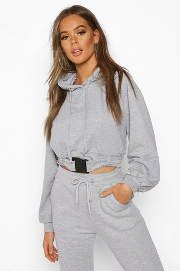 Grey marl Buckle Detail Oversized Hoody