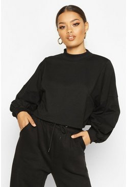 Dam Black Panelled Crop Batwing Sweat