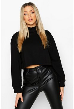 Dam Black Lettuce Hem & Cuff Crop Sweat