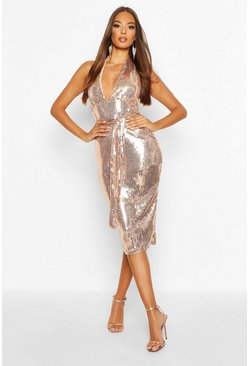 Womens Rose gold Halterneck Sequin Midi Dress