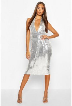 Silver Halterneck Sequin Midi Dress