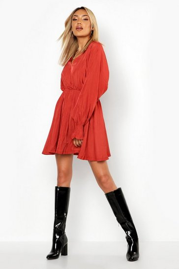 Womens Terracotta Volume Sleeve Skater Dress