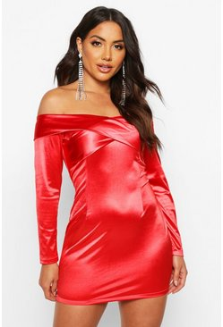 Red Off The Shoulder Stretch Satin Mini Dress