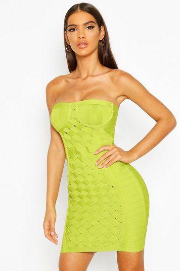 Womens Lime Boutique Contouring Bandage Cupped Mini Dress