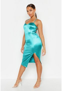 Womens Teal Stretch Satin Lace Up Split Midi Dress