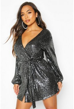Womens Black Petite Belted Balloon Sleeve Sequin Dress
