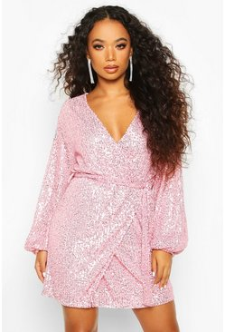Bright pink Petite Belted Balloon Sleeve Sequin Dress