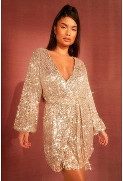 Womens Nude Petite Belted Balloon Sleeve Sequin Dress