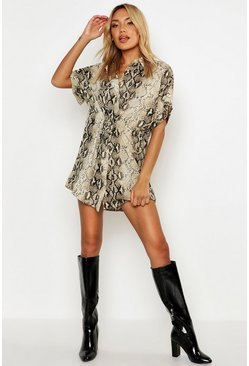 Womens Brown Snake Print Short Sleeve Drawstring Shirt Dress