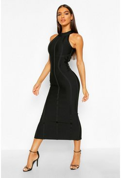 Black Boutique Contouring Bandage Halterneck Midaxi Dress