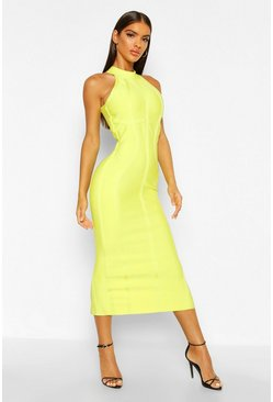 Womens Lime Boutique Contouring Bandage Halterneck Midaxi Dress
