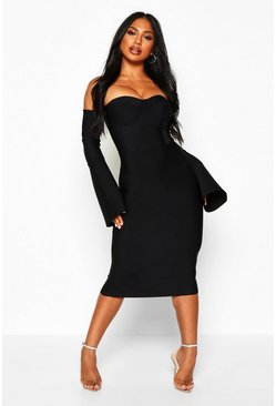 Black Boutique Contouring Bandage Cupped Flared Sleeve Midi Dress