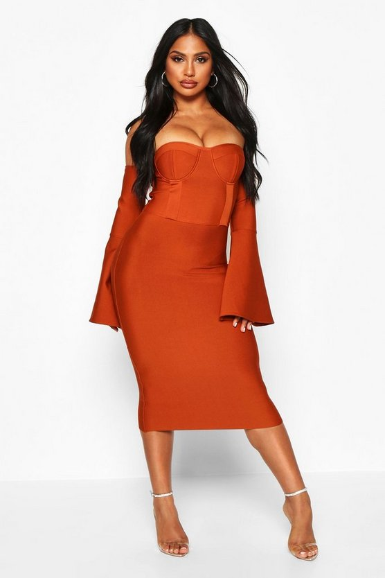 Boutique Contouring Bandage Cupped Flared Sleeve Midi Dress by Boohoo