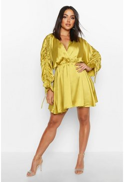 Womens Chartreuse Satin Ruched Sleeve Skater Shirt Dress