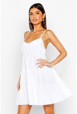 Womens White Broderie Anglais Strappy Smock Dress