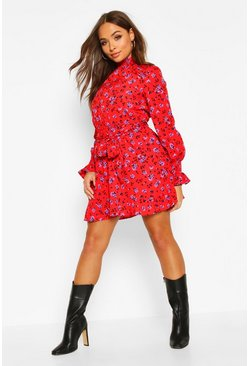 Womens Red Floral Shirred Neck Belted Skater Dress