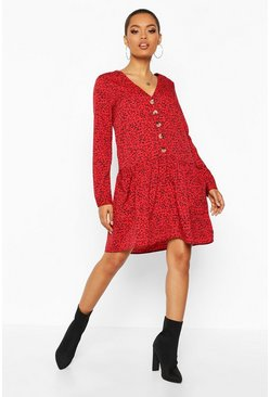Womens Red Micro Ditsy Button Pocket Smock Dress