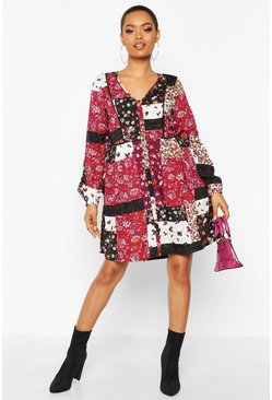 Dam Purple Boho Floral Mix Print Smock Dress