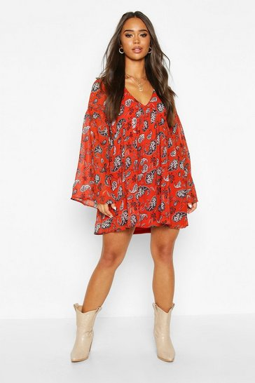 Rust Plunge Extreme Sleeve Smock Dress