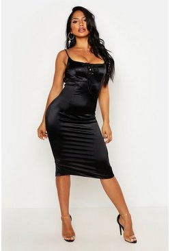 Womens Black Stretch Satin Tie Low Back Midi Dress
