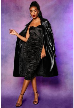 Robe midi froncée en satin stretch à lacets, Noir