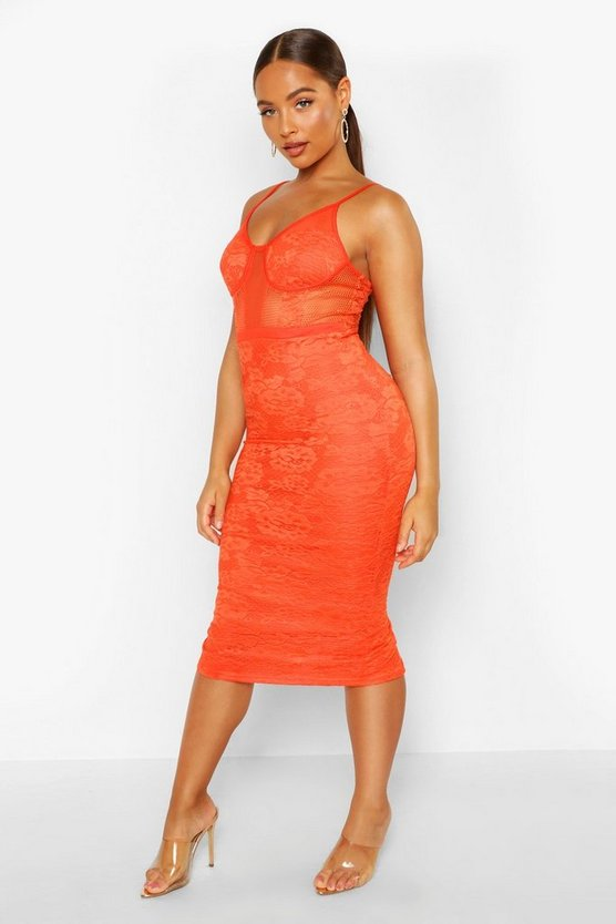 Womens Orange Lace Cupped Mesh Panel Midi Dress