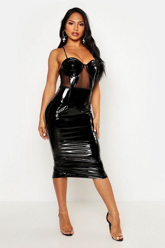Womens Black Mesh Vinyl Cup Midi Dress