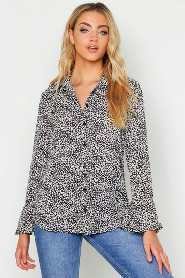 Womens Black Woven Ditsy Print Floral Cuff Shirt