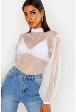 Womens White Organza High Neck Blouse